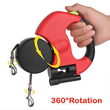 Retractable Dog Double Lead Leash Tangle 2 Dogs Pet Traction Walking Splitter Us
