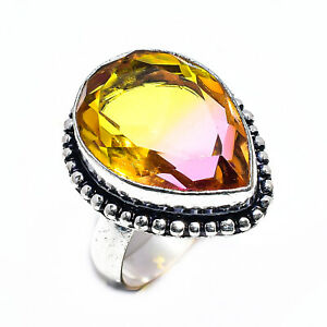 Multi Tourmaline Quartz Gemstone 925 Sterling Silver Jewelry Ring Size 7 4409