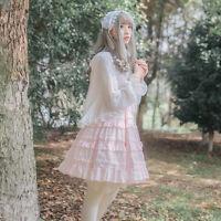 Lolita Princess Sleeveless Suspender Dress Sweet Pink White Women's One Piece