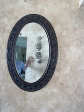 Oval Wall Mirror- Brown Wood