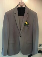 Burton's Men's Grey Suit Muscle Fit W/ Stretch 44R Jacket 38w Trousers Worn Once