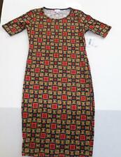 LULAROE JULIA WOMEN'S DRESS XS BRAND NEW WITH TAGS BLACK RED GREEN FREE SHIPPING