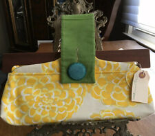 Hand Made Canvas Clutch Handbag By Pistol New With Tags Wood Frame Upper Bright