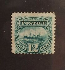 US Pictorial Issues: Scott #117 12c Green 1869  Mint (With Grill) $700 VF NG
