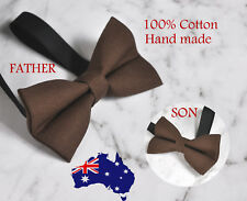 Father Son Match 100% Cotton Handmade Matte Brown Bow Tie Bowtie Wedding Party