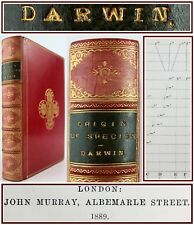 CHARLES DARWIN*THE ORIGIN OF SPECIES*1889*6th EDITION*FINE PRIZE CALF BINDING*VG