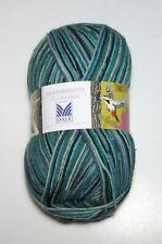 150 gram ball of DALE HAKKESPETT sock knitting yarn color #607 GREEN AQUA BLACK