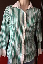 LADIES HAWES AND CURTIS GREEN WHITE STRIPE FITTED SHIRT BLOUSE size 8 RRP £39