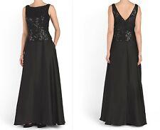 Aidan Mattox Boat Neck V-Back Sequin Lace Bodice Black Chiffon Gown Dress 2 $465