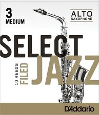 1 Box of 10 D'Addario/Rico Select Jazz Reeds Filed. Alto Saxophone. 3-Medium(3M)