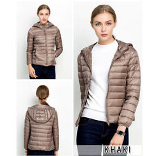 Womens Ultra Light Duck Down Puffer Jacket Slim Short Parka Hooded Coat S-XXL