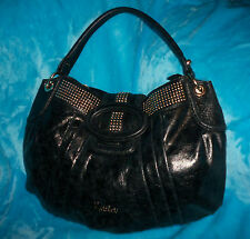 GUESS MARCIANO Black Leather Hobo Shoulder Bag - STUDS