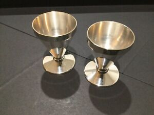 """Antique Silver Plated Egg Cups x 2 ~ """"Silva"""""""