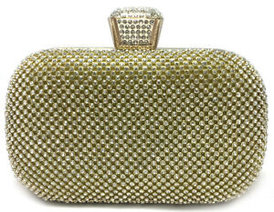 Party clutch bag Womens crystal gold silver box clutch bag Prom evening handbag