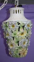 Vintage / Antique Porcelain Hanging Ceiling Lamp Flowers & Basket Weave Pattern