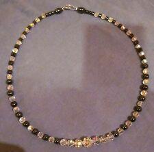 EDEL wie NEU Perlen Kette Hämatit + Glasperlen geschliffen Perlenkette ca. 47 cm