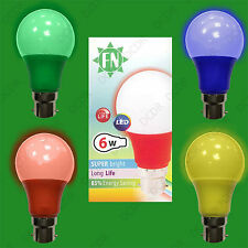 4x 4 Pack LED de color Gls A60 LED B22 Lámpara Bombilla, rojo, amarillo, verde,
