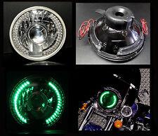 "7"" Harley Motorcycle Green LED Halo Turn Signal Projector Headlight"