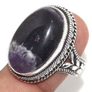 Banded Amethyst 925 Silver Plated Handmade Vintage Ring us 8.5 Ethnic Jewelry GW