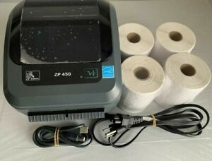 "Zebra ZP450 CTP Direct Thermal Printer + 4 x 6"" 1000/2000 Labels / Power / Cable"