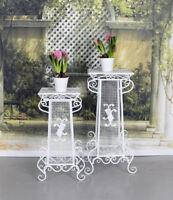 Zwei Blumentische Ablage Pflanztisch Shabby Chic Blumenständer Säule Blumensäule
