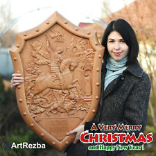 """32"""" x 23"""" Saint George on Shield and the Dragon 3D Art Orthodox Wood Carved Icon"""