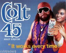 Colt 45 Beer Macho Man  Refrigerator / Tool Box Magnet Ad