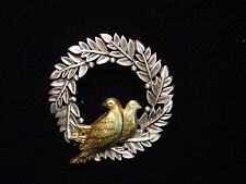 """JJ"" Jonette Jewelry Silver Pewter 'Christmas Wreath with Doves' Pin"
