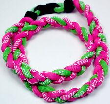 "Kids 18"" 3 Rope Titanium Sports Necklace Pink Lime Green Tornado Baseball"