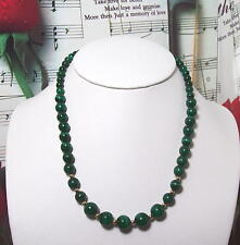 """Necklace, Graduated 4mm-10mm, 16"""". Neck006 Malachite With 14K Gf Beaded"""