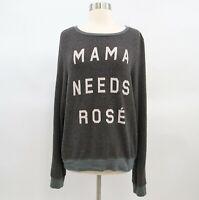 Wildfox Graphic Sweatshirt Sweater Top Womens M Gray Mama Needs Rosé Textured