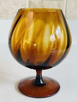 Vintage Amber Glass Empoli Style Swirl Brandy Sniffer Compote Vase Hand Blown