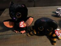 Lot of 2 NWT 2019 Ty Beanie Boos Halloween Cobb & Echo Plush Spider Bat Toy 6""