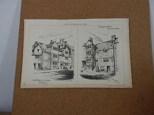 Antique architects print old house Gilesdale , Blairgrove house Barnard Castle
