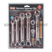 KING 5PC Gear Ratchet Spanner Combination Wrench Set Pro / Home Hand Tool Metric