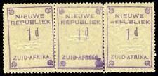 REPUBBLICA NUOVA 1887 1d Violet su carta di granito blu striscia di tre Gomma integra, non linguellato. SG 72d.