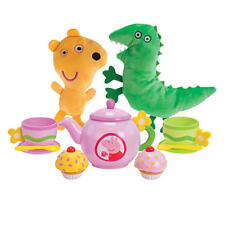 Peppa Pig Tea Party Set w/ Teddy & Mr. Dinosaur, Interactive Teapot (11 Piece)