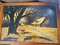 """Large Antique """"Home And Landscape In Winter Scene"""" Oil Painting - Signed/Framed"""