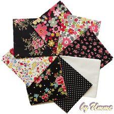 Black Floral 8 Fat Quarter Bundle - 100% Cotton Fabric - Sewing, Craft, Quilting