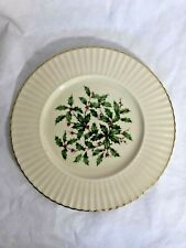 Lennox Holly Berry Special Christmas Plate Fluted Rim 24K Gold Trim 8 1/2 Inches