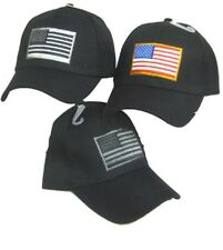 Red White Blue USA American Flag Patch Black Embroidered Baseball Cap Hat 610C