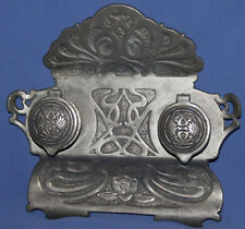 ANTIQUE ORNATE METAL DOUBLE DESK INKWELL