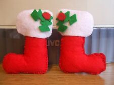 Broche de fieltro hecho a mano-Medias de Navidad!