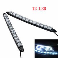 2X 12V 12LED STRIP DRL DAYTIME RUNNING LIGHTS CAR LAMP WHITE DAY DRIVING