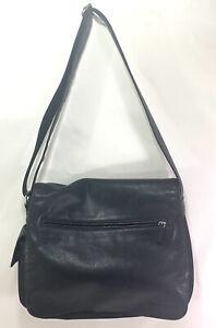 "Fossil Vintage Perfect Men/Woman Messenger Organizer Bag Black Leather 15"" Wide"