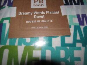 POTTERY BARN TEEN DREAMY WORDS FLANNEL DUVET TWIN + 1 SHAM STANDARD NEW