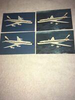 4-Vintage Delta Postcards Delta Airlines 2 Douglas DC-8 Fanjet & 2 Convair 880