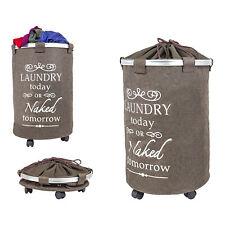 dbest products 360 Swivel Clothes Hamper Laundry Organizer Trolley Dolly, Brown
