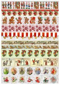 Reispapier-Motiv Strohseide-Decoupage-Vintage-Weihnachten-Bordüre-19290