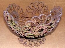 """VTG Scrolled Floral Wrought Iron Bowl Footed Plant Stand 9 1/2""""Wide 6 1/2""""Tall"""